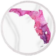 Watercolor Map Of Florida, In Pink And Purple Round Beach Towel