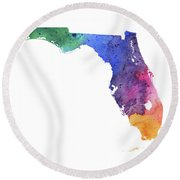 Watercolor Map Of Florida,  In Rainbow Colors  Round Beach Towel