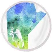 Watercolor Map Of Manitoba, Canada In Blue And Green  Round Beach Towel