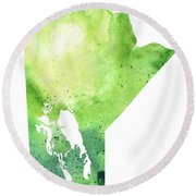 Watercolor Map Of Manitoba, Canada In Green Round Beach Towel