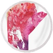 Watercolor Map Of Manitoba, Canada In Orange, Red And Purple  Round Beach Towel