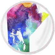 Watercolor Map Of Manitoba, Canada In Rainbow Colors  Round Beach Towel