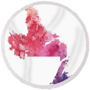 Watercolor Map Of Newfoundland And Labrador, Canada In Orange, Red And Purple  Round Beach Towel