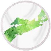 Watercolor Map Of Nova Scotia, Canada In Green  Round Beach Towel