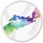 Watercolor Map Of Nova Scotia, Canada In Rainbow Colors  Round Beach Towel
