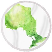 Watercolor Map Of Ontario, Canada In Green  Round Beach Towel