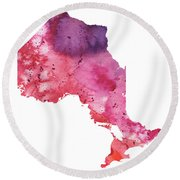 Watercolor Map Of Ontario, Canada In Orange, Red And Purple  Round Beach Towel