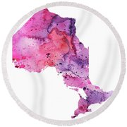 Watercolor Map Of Ontario, Canada In Pink And Purple  Round Beach Towel