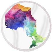 Watercolor Map Of Ontario, Canada In Rainbow Colors  Round Beach Towel