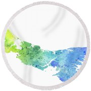 Watercolor Map Of Prince Edward Island, Canada In Blue And Green  Round Beach Towel
