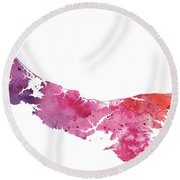 Watercolor Map Of Prince Edward Island, Canada In Orange, Red And Purple Round Beach Towel