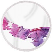 Watercolor Map Of Prince Edward Island, Canada In Pink And Purple  Round Beach Towel