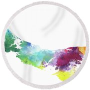 Watercolor Map Of Prince Edward Island, Canada In Rainbow Colors  Round Beach Towel