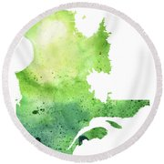 Watercolor Map Of Quebec, Canada In Green  Round Beach Towel