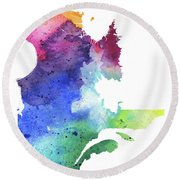 Watercolor Map Of Quebec, Canada In Rainbow Colors  Round Beach Towel
