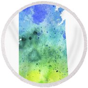 Watercolor Map Of Saskatchewan, Canada In Blue And Green  Round Beach Towel