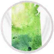 Watercolor Map Of Saskatchewan, Canada In Green Round Beach Towel