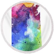 Watercolor Map Of Saskatchewan, Canada In Rainbow Colors  Round Beach Towel