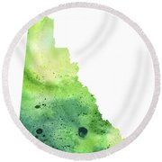 Watercolor Map Of Yukon, Canada In Green Round Beach Towel