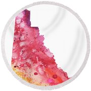 Watercolor Map Of Yukon, Canada In Orange, Red And Purple  Round Beach Towel