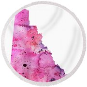 Watercolor Map Of Yukon, Canada In Pink And Purple  Round Beach Towel