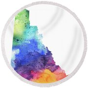 Watercolor Map Of Yukon, Canada In Rainbow Colors  Round Beach Towel