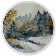Watercolor Medieval Castle Of Veves  Round Beach Towel