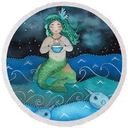Watercolor Mermaid Feeding Her Narwhals Round Beach Towel