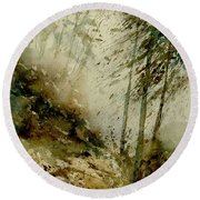 Watercolor Misty Atmosphere  Round Beach Towel