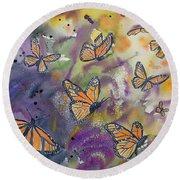 Watercolor- Monarchs In Flight Round Beach Towel