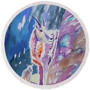 Watercolor - Mountain Goat With Young Round Beach Towel
