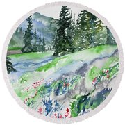 Watercolor - Mountain Pines And Indian Paintbrush Round Beach Towel