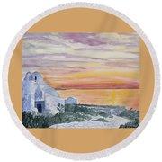 Watercolor - Mykonos Sunset Round Beach Towel