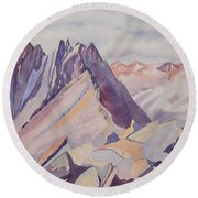 Watercolor - Near The Top Of Mount Sneffels Round Beach Towel