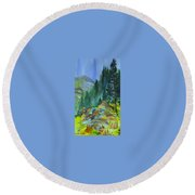 Watercolor Of Mountain Forest Round Beach Towel