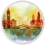 watercolor of Venice Round Beach Towel