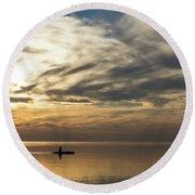 Watercolor Paddle - Kayaking Through A Glorious Silken Morning Round Beach Towel