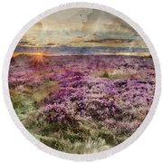 Watercolor Painting Of Beautiful Dawn Sunrise Landscape Image Of Heather On Higger Tor In Summer In  Round Beach Towel