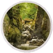 Watercolor Painting Of Beautiful Ethereal Landscape Of Deep Sided Gorge With Rock Walls And Stream F Round Beach Towel