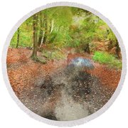 Watercolor Painting Of Beautiful Landscape Image Of Forest Covered In Autumn Fall Color Contrasting  Round Beach Towel