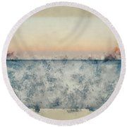 Watercolor Painting Of Beautiful Seascape Image Of Calm Ocean At Sunset Round Beach Towel