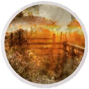 Watercolor Painting Of Beautiful Sunrise Landscape Over Foggy English Countryside With Glowing Sun Round Beach Towel