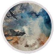Watercolor Painting Of Flight Formation Of Battle Of Britain World War Two Consisting Of Lancaster B Round Beach Towel