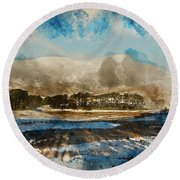 Watercolor Painting Of Fresh Winter Landscape Of Mountain Range And Forest Covered In Snow Round Beach Towel