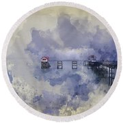Watercolor Painting Of Landscape Of Victorian Pier With Moody Sk Round Beach Towel