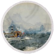 Watercolor Painting Of Pleasure Cruise Boat On Menai Straits In Anglesey Wales. Round Beach Towel