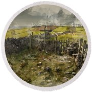 Watercolor Painting Of Public Footpath Signposts In Landscape In Round Beach Towel