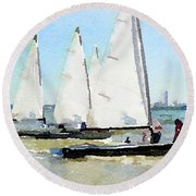 Watercolor Painting Of Small Dinghy Boats Round Beach Towel