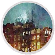 Watercolor Painting Of Spooky Houses At Night Round Beach Towel