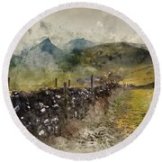 Watercolor Painting Of Stunning Landscape Of Chrome Hill And Parkhouse Hill Dragon's Back In Peak Di Round Beach Towel
